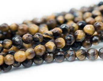 Faceted Tiger Eye Beads, 5-6mm,   75pc Strand, 1mm Hole -B784