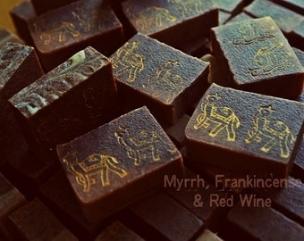 Myrrh, Frankincense & Red Wine Soap. Vegan Natural soap-scrub. With Olive oil and Shea butter. Gentle creamy lathering!