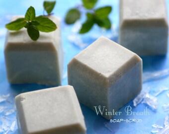 Cooling Vegan Ice Cubes Soap. Winter Breath Soap Scrub - with Sea Salt, Menthol, Indigo. Breathin' E-Z. Sore muscles soap. Long-lasting bar