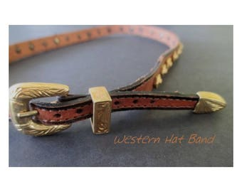 Western Hat Band * Brown Leather * Gold Tone Conchos * Vintage South Western Accessory