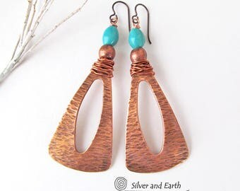 Copper & Turquoise Earrings, Long Dangle Earrings, Big Copper Earrings, Artisan Handmade Statement Jewelry, Modern Bohemian Tribal Earrings