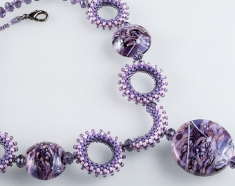 Art-Glass Lampwork Beads Necklace, Beadweaving Purple Pink Necklace and Earrings, OOAK