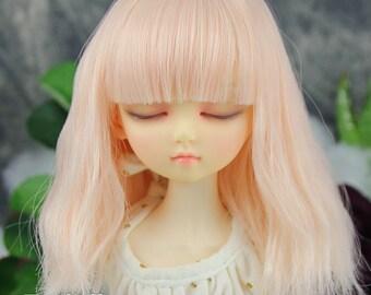 Fatiao - New Dollfie MSD Kaye Wiggs 1/4 BJD Size 7-8 inch Dolls Curls Wig - Cream pink