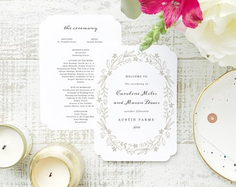 INSTANT Program Template  | Floral Wreath | Printable Wedding Download | Flat 5x7 Double Sided | Editable Colors | Mac or PC | Word & Pages