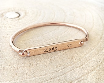 Children's Bangle, Hand Stamped ID Bracelet, Childrens ID Bracelet, ID Bangle, Personalized Bangle, Name Plate Bangle