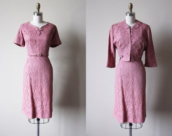 R E S E R V E D 50s Party Dress - Vintage 1950s Dress - Rose Blush Lace Cocktail Dress Jacket Belt Set L - Charmed I'm Sure Dress