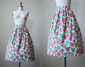 50s Skirt - Vintage 1950s Skirt - Pink Jadeite Green Rose Print Cotton Full Skirt L - Hope Springs Eternal Skirt