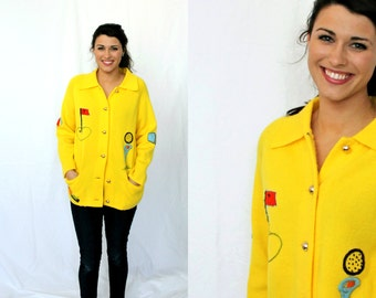 Yellow Novelty Golf Cardigan - Hand Embrodiered - Andreno Argenti Vintage early 1970s - Men Women Medium Large