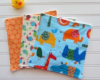 Zoo Baby Boy Washcloth Set, Baby Boy Bath Set, Soft Baby Washcloths, Baby Wipes, Diaper Bag Accessory, Baby Boy Shower Gift