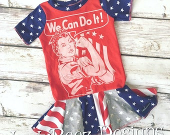 We Can Do It- Patriotic Woman- Rosie the Riveter- Upcycled Knit Dress