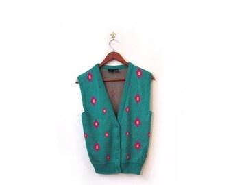 BTS SALE Vintage 80s Preppy Green Diamond Print Knit Vest xs s
