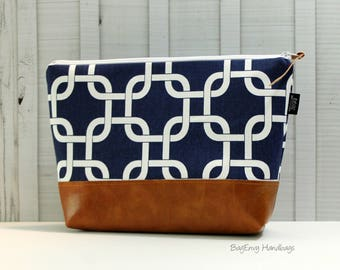 Navy Links with Vegan Leather - Large Make Up Bag / Diaper Clutch / Bridesmaid Gift