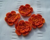Crochet motif set of 4 flowers 1.5 inch Orange Crush embellishment crochet flower