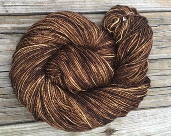 Sparkle Sock Yarn Walk the Plank Hand Dyed Hand Painted dark brown pirate ship 438 yards superwash merino nylon stellina fingering mahogany
