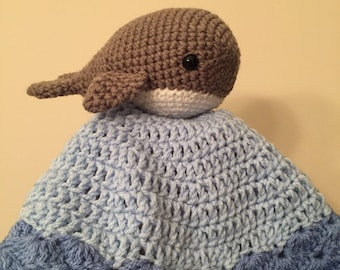 Crocheted Whale Lovey/ Grey and Blue Whale Lovey/ Crocheted Baby Lovey