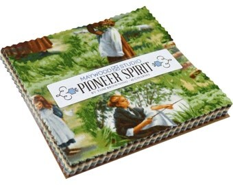 "NEW! Maywood Studio Pioneer Spirit 5"" Charm Pack 42 Precut Squares 100% Cotton Fabric Little House on the Prairie"