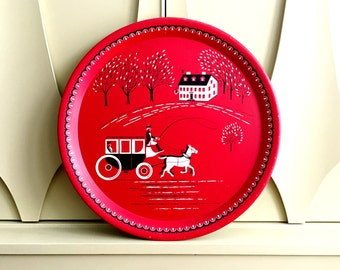 LARGE Red Horse and Carriage Early American Rural Theme Vintage Metal Serving Tray or Platter