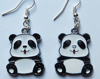 Panda earrings with silver plated fishhook posts
