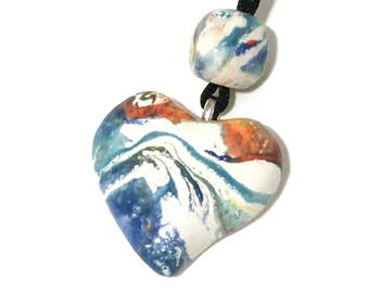 Bead and Pendant Necklace, Ceramic Heart Pendant Necklace, Handmade Ceramic Jewelry, Mother's Day Gift Jewelry
