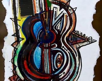 Guitar Electric - Framed Original Artwork by Kyoko Cole