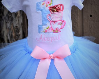 Tea Party Birthday Tutu Set... Includes Tutu and Embroidered Top.