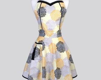 Sweetheart Womens Retro Apron , Yellow Gold Black Grey and White Chrysanthemum Flowers Vintage Style Full Hostess or Kitchen Apron