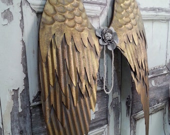 "Large Gold Grey Angel Wings, Art Wall Hanging Decor, Shabby Wings Victorian Angel Wings, Religious Spiritual 25""x15"" / 3-5 Day Ship"