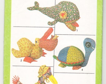 Vintage 1978 Simplicity 8779 UNCUT Craft Sewing Pattern Stuffed Animal Toys in One Size