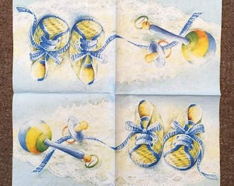 PN-213. Welcome Baby Paper Napkins for decoupage Napkins for Art Luxury Design Napkins DECOUPAGE SERVIETTE