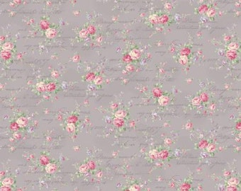 Ruru Bouquet Love Rose Love Cotton Fabric Rose ru2300-15d  Small  Roses on lavender gray with Script
