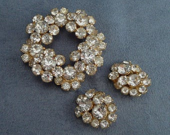 Eisenberg Ice Rhinestone Set Brooch & Earrings Tiered Layered Vintage Demi Parure