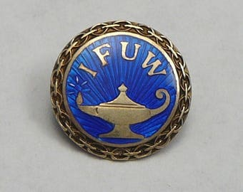 David Anderson Sterling Enamel IFUW Pin Brooch International Federation of University Women