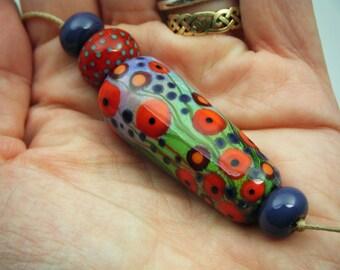 Moogin Beads- Poppy field enamelled lampwork / glass bead set   - SRA