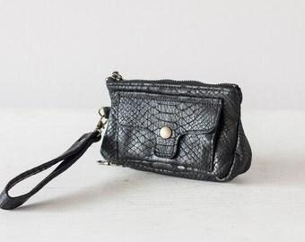Black Wristlet wallet phone case in snakeskin pattern, leather womens clutch phone case zipper pouch - Thalia Wallet