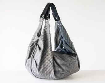 Grey patterned wool and black leather hobo bag, everyday bag weekend bag shoulder bag women hobo bag - Kallia bag