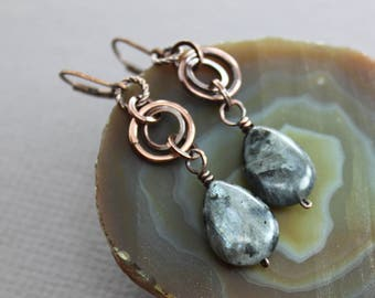 WHILE SUPPLIES LAST - Copper dangle earrings with larvikite ( aka Norwegian moonstone ) drops - Drop earrings - Stone earrings