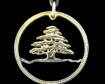 Cut Coin Jewelry - Pendant - Lebanon - Cedar Tree