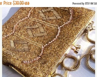 SALE Vintage Gold Beaded Handbag Made in Hong Kong Excellent Condition