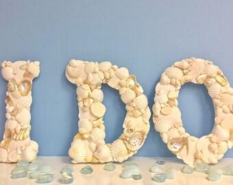 "Beach Wedding Seashell Letters - ""I DO"" - Natural Shells - destination wedding/wedding prop/monogram"