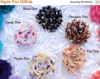 30% OFF SPRING SALE Set of 5 Shabby Flower Clips, U Choose Color, Newborn Headband, Infant Headband, Baby Headband, Flower Girl, Baby Shower