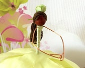 ON SALE Tiana Flower Fairy Doll, Mint Green Fairy, Faerie, Lime Green, Tree Ornament, Gift Topper, STocking Stuffer, Allonzee, Princess & Fr
