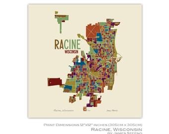 Racine, Wisconsin Art Map Print (Racine County) by James Steeno