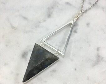 Silver Labradorite Necklace | Geometric