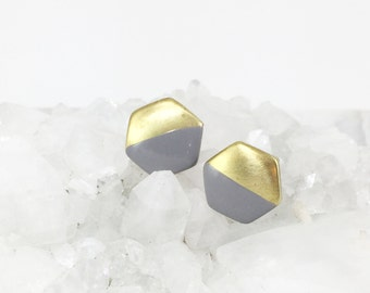 Painted Hexagon Earrings | Vintage Brass Studs | Gray | Black