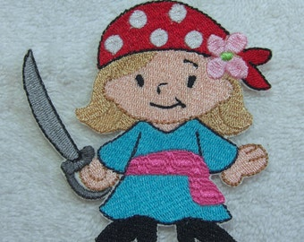 Little (Girl) Pirate Embroidered Iron on Applique Patch Ready to Ship