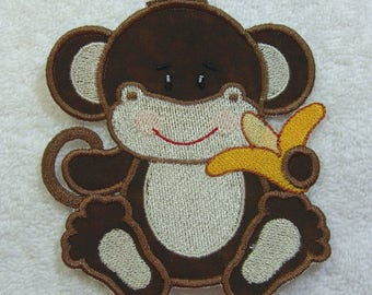 Little Monkey Fabric Embroidered Iron On Applique Patch Ready to Ship