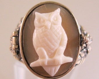 Owl Cameo Poison Ring Locket Sterling Silver Size 9 Vintage Jewelry Jewellery