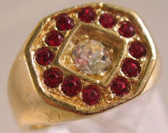 Vintage Men's Red & Clear Rhinestone Gold Plated Ring Size 11 Costume Jewelry Jewellery