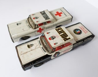 Two Toy Cars, Tin Ambulance, Tin Police Car, Policeman Gift, Ambulance Driver Gift, Emergency Tin Toys, Highway Patrol