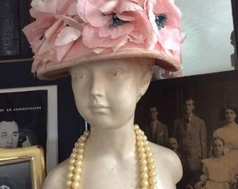 Vintage 60s Pink Chiffon Floral petals Blue floral Tips Ladies Spring Easter Derby Hat
